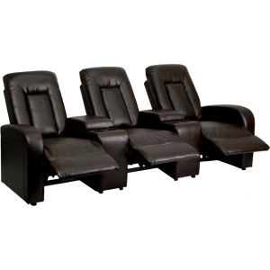 Wholesale Eclipse Series 3-Seat Reclining Brown Leather Theater Seating Unit with Cup Holders