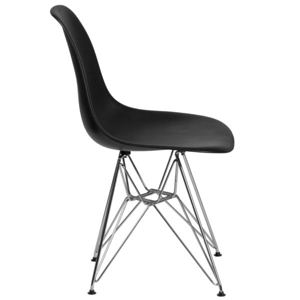 Lowest Price Elon Series Black Plastic Chair with Chrome Base