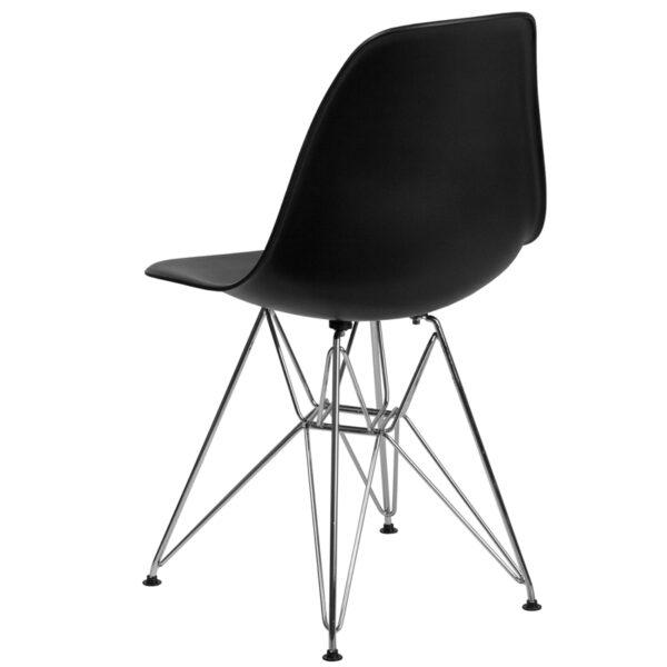 Accent Side Chair Black Plastic/Chrome Chair