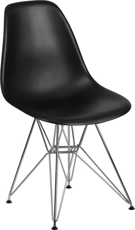 Wholesale Elon Series Black Plastic Chair with Chrome Base