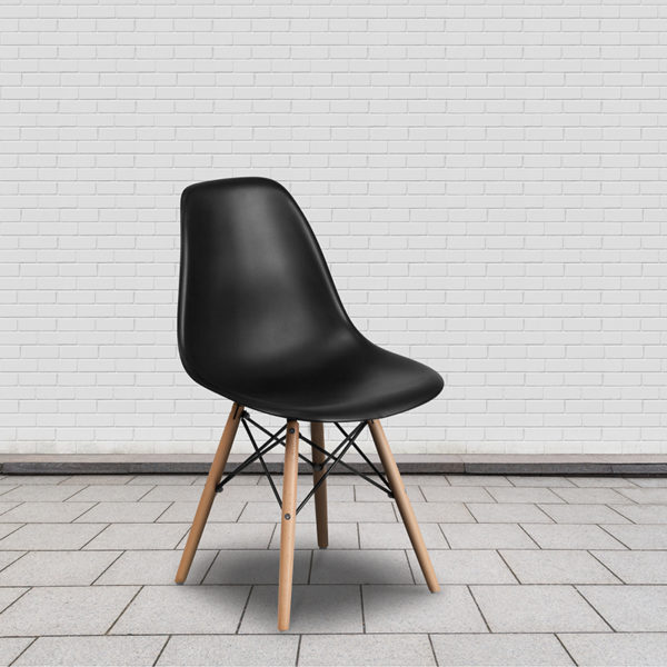 Lowest Price Elon Series Black Plastic Chair with Wooden Legs