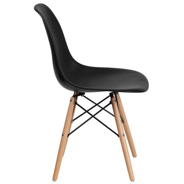 Plastic Side Chair Black Plastic/Wood Chair