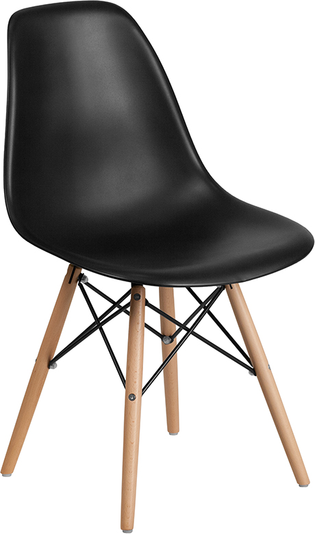 Wholesale Elon Series Black Plastic Chair with Wooden Legs