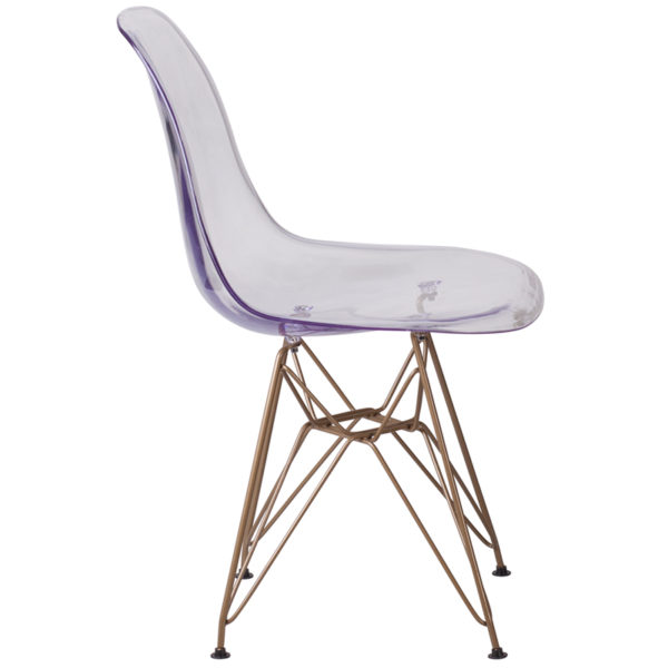 Lowest Price Elon Series Ghost Chair with Gold Metal Base