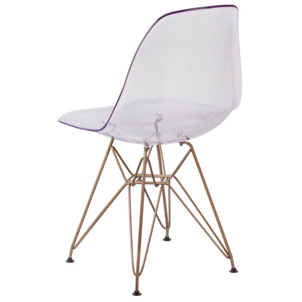 Accent Side Chair Ghost Chair with Gold Base