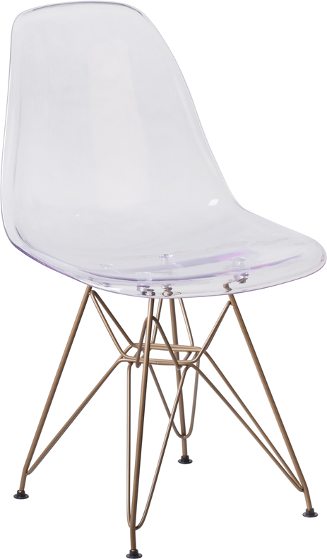 Wholesale Elon Series Ghost Chair with Gold Metal Base