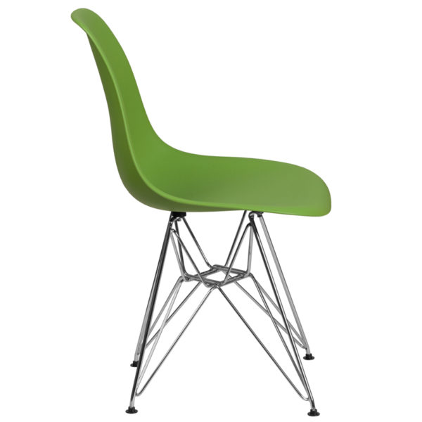 Lowest Price Elon Series Green Plastic Chair with Chrome Base