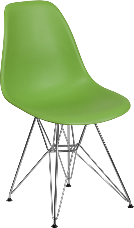 Wholesale Elon Series Green Plastic Chair with Chrome Base