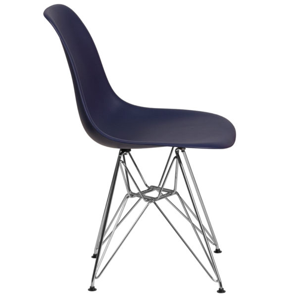 Lowest Price Elon Series Navy Plastic Chair with Chrome Base