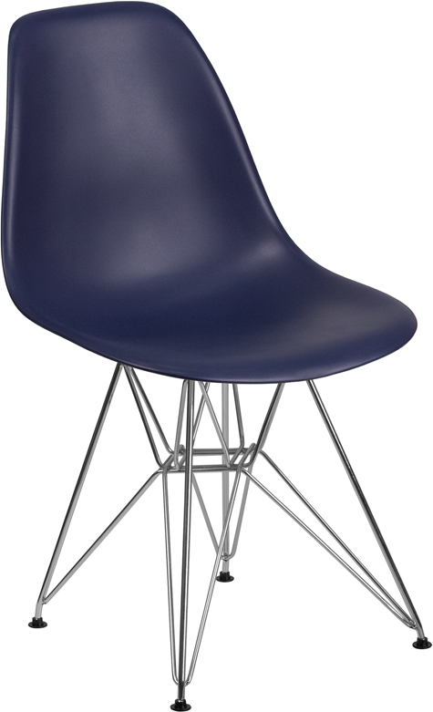 Wholesale Elon Series Navy Plastic Chair with Chrome Base