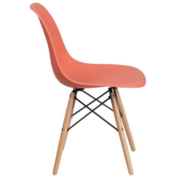 Lowest Price Elon Series Peach Plastic Chair with Wooden Legs