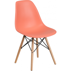 Wholesale Elon Series Peach Plastic Chair with Wooden Legs