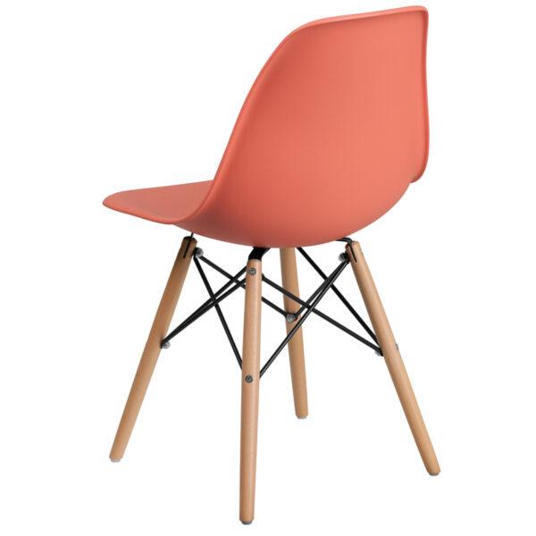 Plastic Side Chair Peach Plastic/Wood Chair