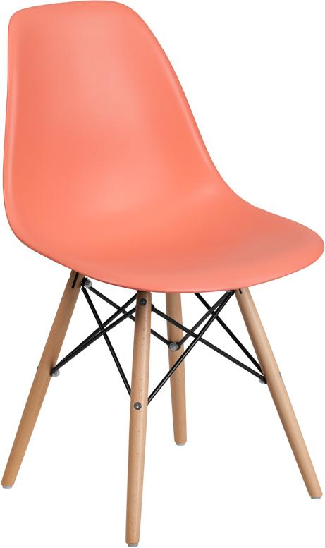 Wholesale Elon Series Peach Plastic Chair with Wooden Legs