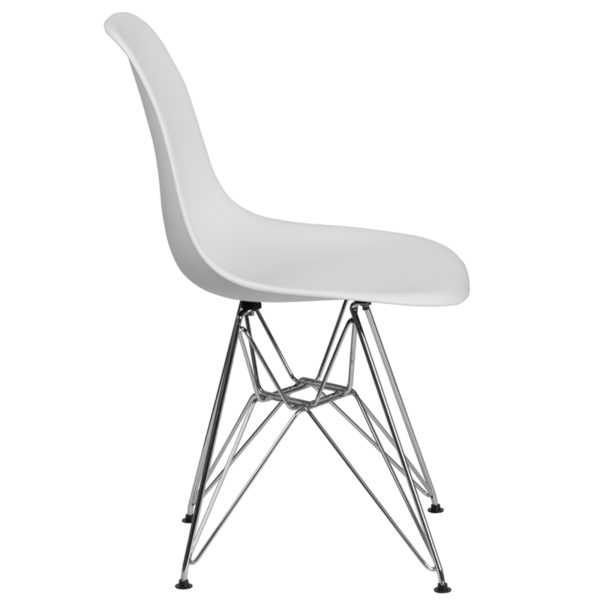 Lowest Price Elon Series White Plastic Chair with Chrome Base