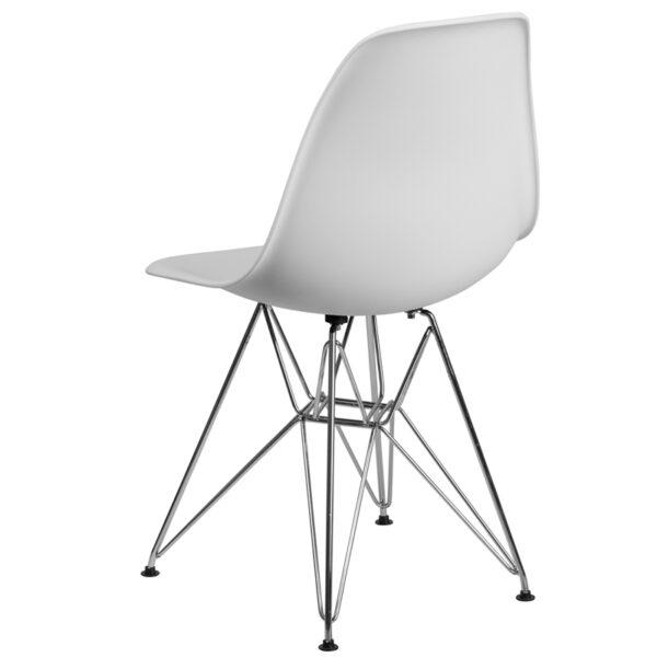 Accent Side Chair White Plastic/Chrome Chair
