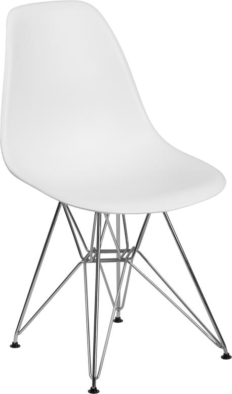 Wholesale Elon Series White Plastic Chair with Chrome Base