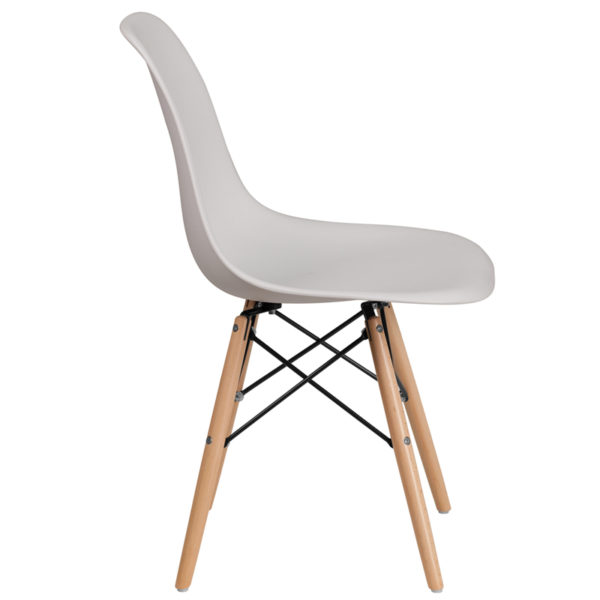 Lowest Price Elon Series White Plastic Chair with Wooden Legs