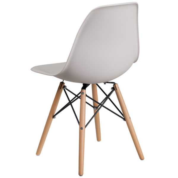 Plastic Side Chair White Plastic/Wood Chair