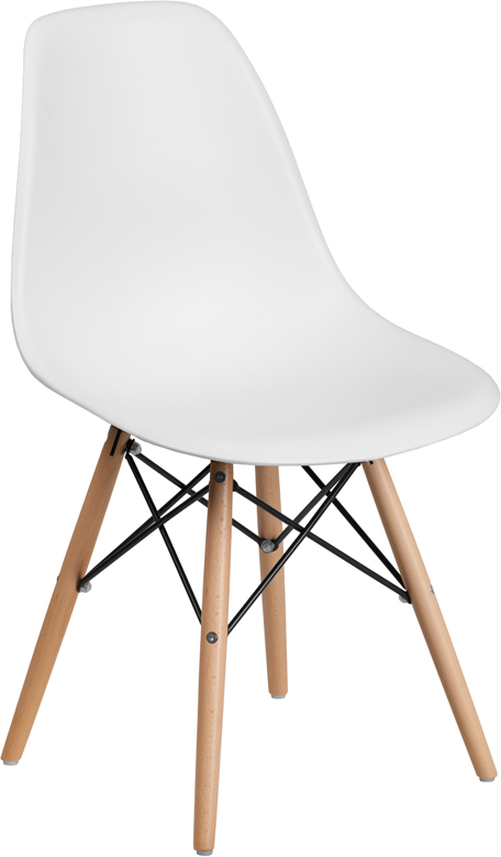Wholesale Elon Series White Plastic Chair with Wooden Legs
