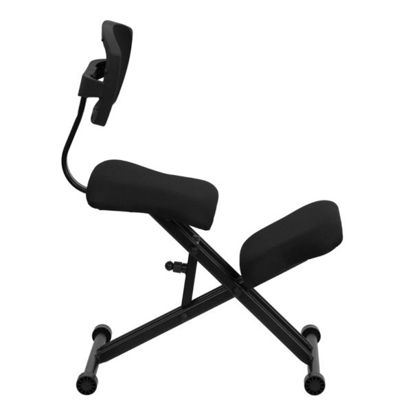 Lowest Price Ergonomic Kneeling Office Chair with Back in Black Mesh and Fabric