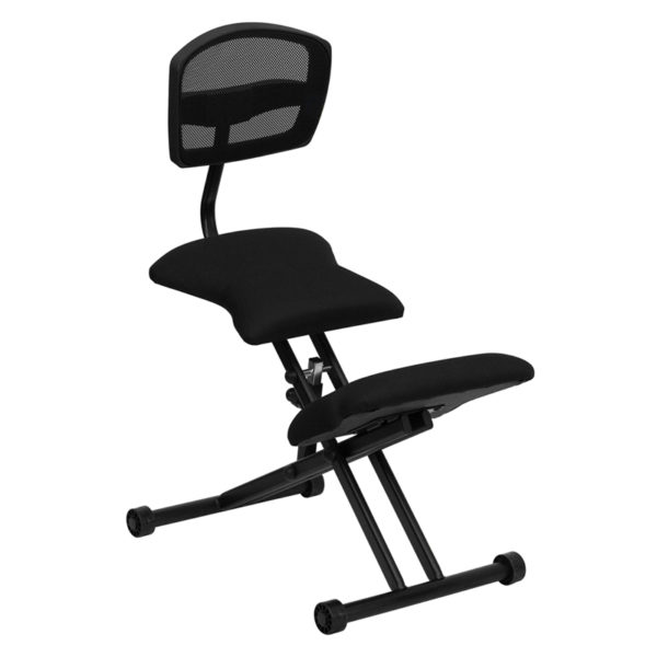 Wholesale Ergonomic Kneeling Office Chair with Back in Black Mesh and Fabric