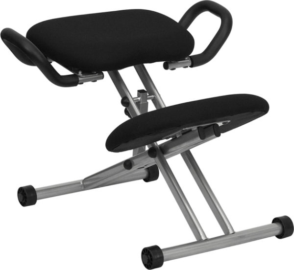 Wholesale Ergonomic Kneeling Office Chair with Handles in Black Fabric