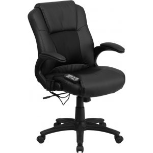 Wholesale Ergonomic Massaging Black Leather Executive Swivel Office Chair with Arms