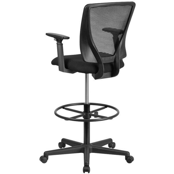 Contemporary Draft Stool Black Mesh Draft Chair w/ Arms