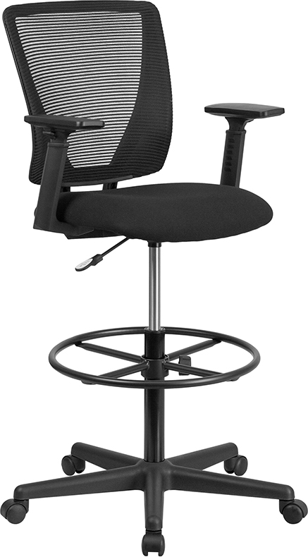 Wholesale Ergonomic Mid-Back Mesh Drafting Chair with Black Fabric Seat