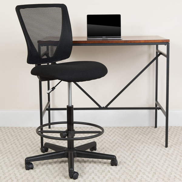 Lowest Price Ergonomic Mid-Back Mesh Drafting Chair with Black Fabric Seat and Adjustable Foot Ring