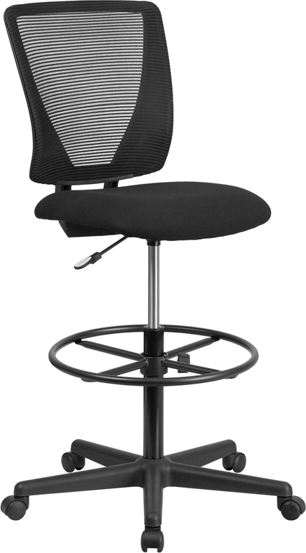 Wholesale Ergonomic Mid-Back Mesh Drafting Chair with Black Fabric Seat and Adjustable Foot Ring