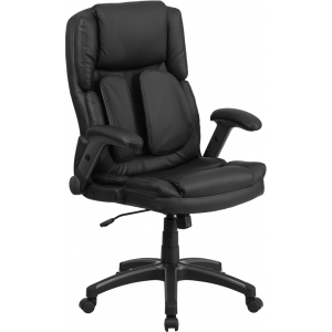 Wholesale Extreme Comfort High Back Black Leather Executive Swivel Ergonomic Office Chair with Flip-Up Arms