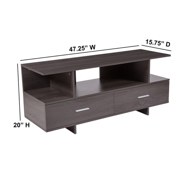 Lowest Price Fields Driftwood Wood Grain Finish TV Stand and Media Console