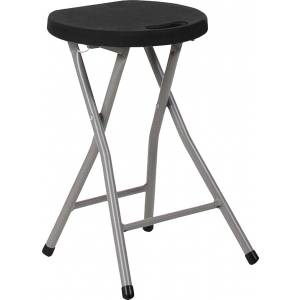 Wholesale Foldable Stool with Black Plastic Seat and Titanium Frame