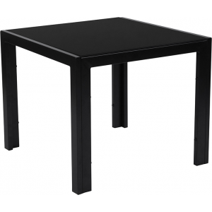 Wholesale Franklin Collection Sleek Black Glass End Table with Black Metal Legs