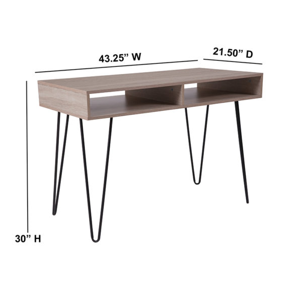 Lowest Price Franklin Oak Wood Grain Finish Computer Table with Black Metal Legs