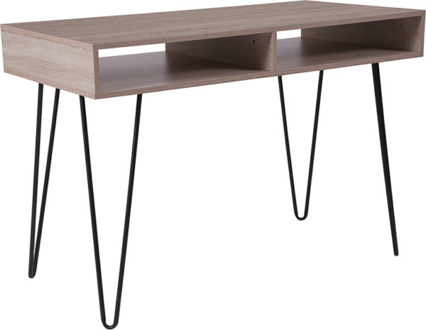 Wholesale Franklin Oak Wood Grain Finish Computer Table with Black Metal Legs