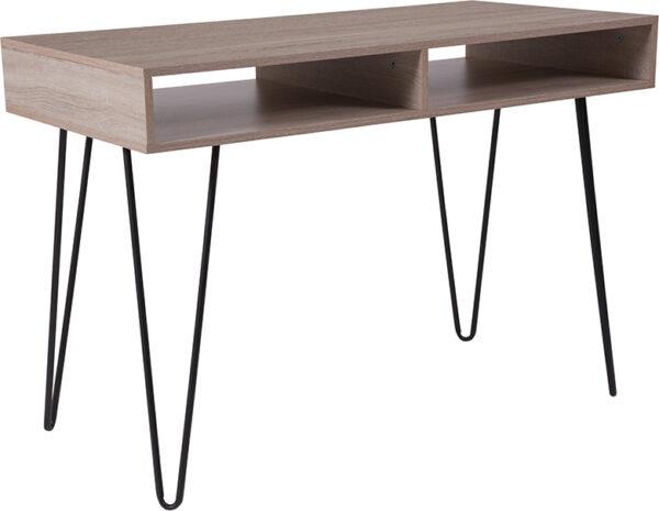 Wholesale Franklin Oak Wood Grain Finish Computer Table with Black Metal Legs