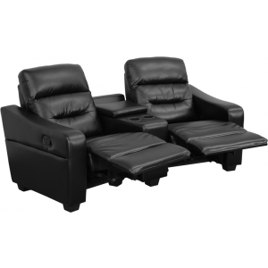 Wholesale Futura Series 2-Seat Reclining Black Leather Theater Seating Unit with Cup Holders