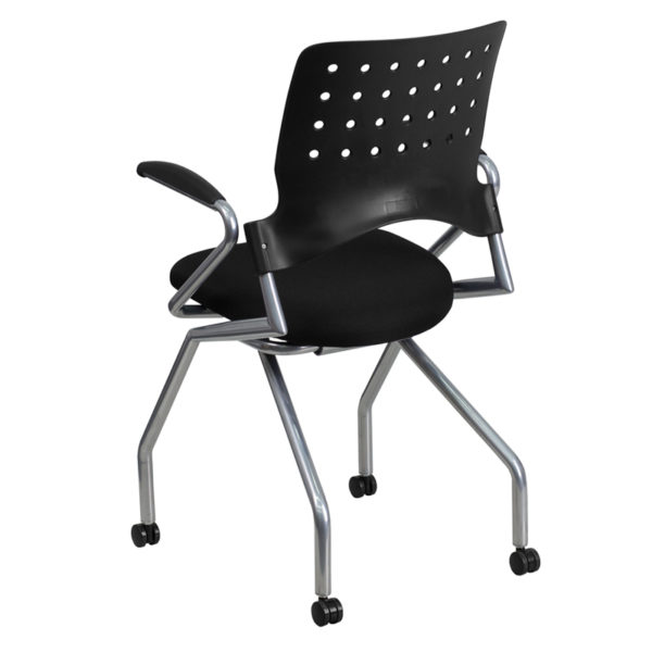 Training/Conference Room Chair Black Fabric Nesting Armchair