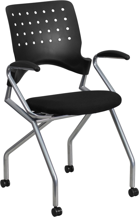 Wholesale Galaxy Mobile Nesting Chair with Arms and Black Fabric Seat