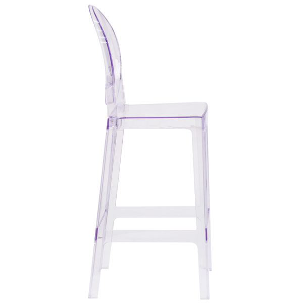 Lowest Price Ghost Barstool with Oval Back in Transparent Crystal