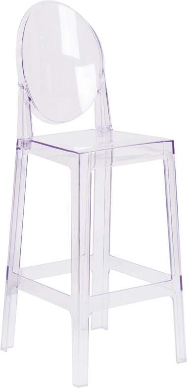 Wholesale Ghost Barstool with Oval Back in Transparent Crystal