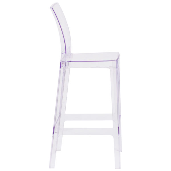 Lowest Price Ghost Barstool with Square Back in Transparent Crystal