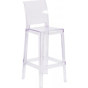 Wholesale Ghost Barstool with Square Back in Transparent Crystal