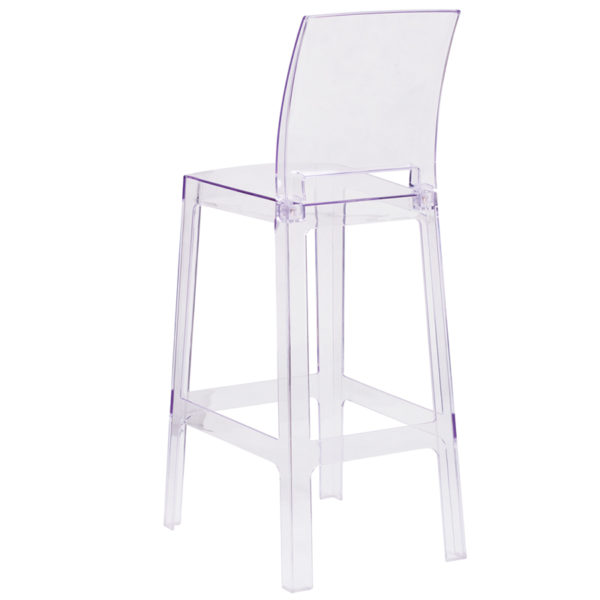 Contemporary Bar Stool Square Back Ghost Barstool