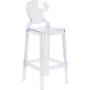 Wholesale Ghost Barstool with Tear Back in Transparent Crystal
