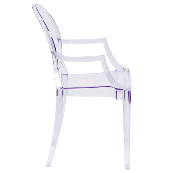 Lowest Price Ghost Chair with Arms in Transparent Crystal