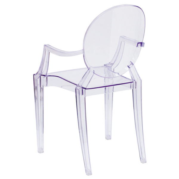 Classic Style Accent Chair Clear Stacking Side Arm Chair